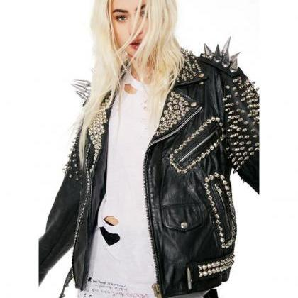 NEW WOMAN BLACK LONG SPIKED PUNK CO..