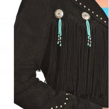 Women black Suede Leather Western C..