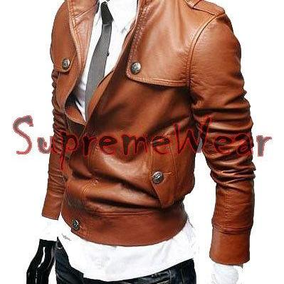 Handmade New Men Stylish Button Fro..