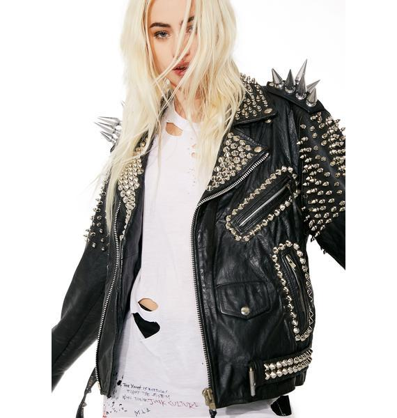 NEW WOMAN BLACK LONG SPIKED PUNK COWHIDE LEATHER JACKET WITH Studs XS TO 6XL