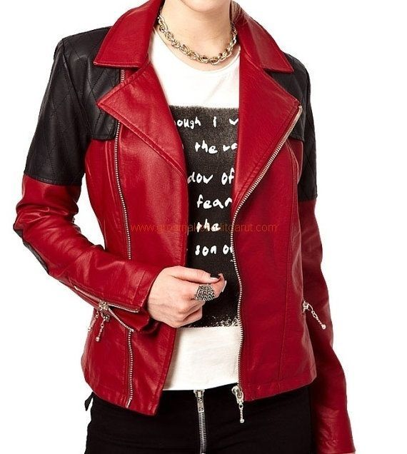HANDMADE WOMEN FASHION LEATHER JACKET, WOMENS RED AND BLACK COLOR LEATHER JACKET