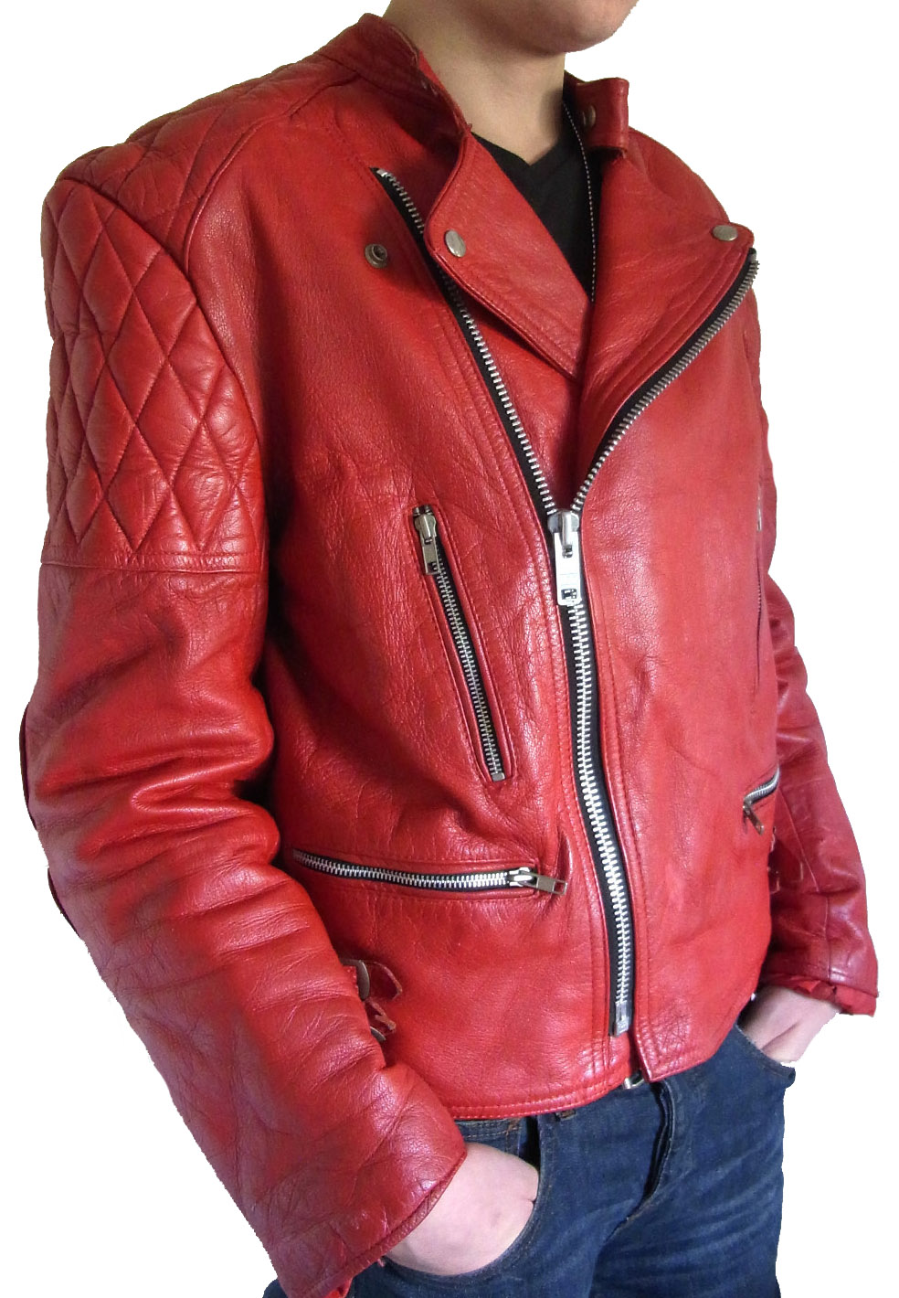Handmade Custom New Men Stylish With Quilted Shoulders Leather ...