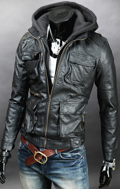 Handmade Custom New Men Hooded With Four Front Pockets Leather