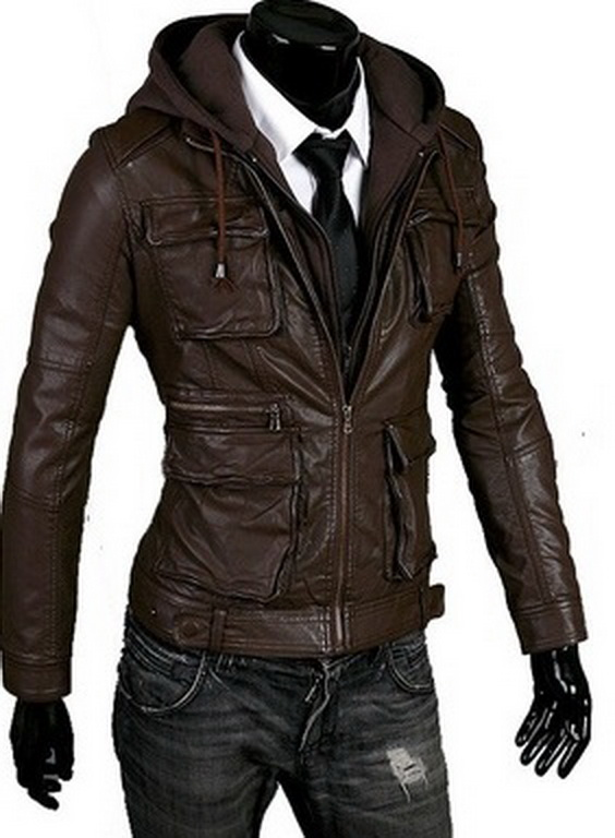 Handmade New Men Hooded Latest Winter Leather Jacket, Men Leather ...
