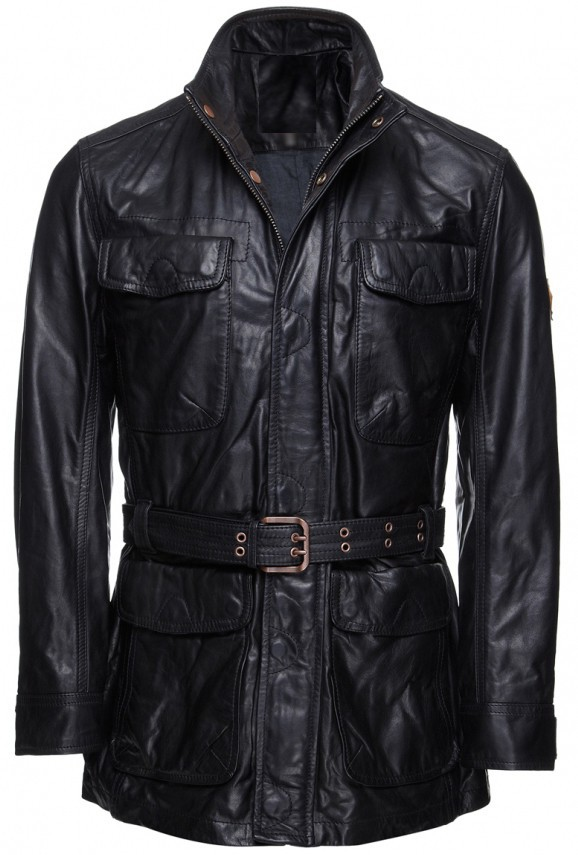 Handmade New Men Stylish Front Multi Pockets Leather Coat with Belted Waist