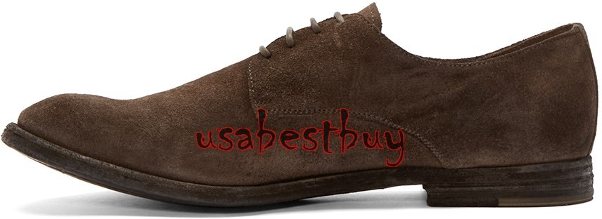 New Handmade Classic Style Men Suede Leather Shoes in Dark Brown, Men shoes