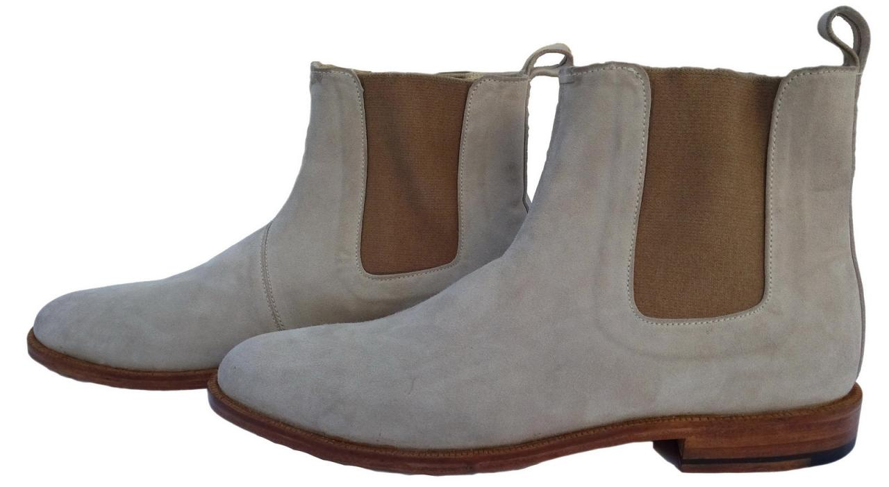 New Handmade Mens Beige Chelsea Suede Leather Boots,Men suede leather boot