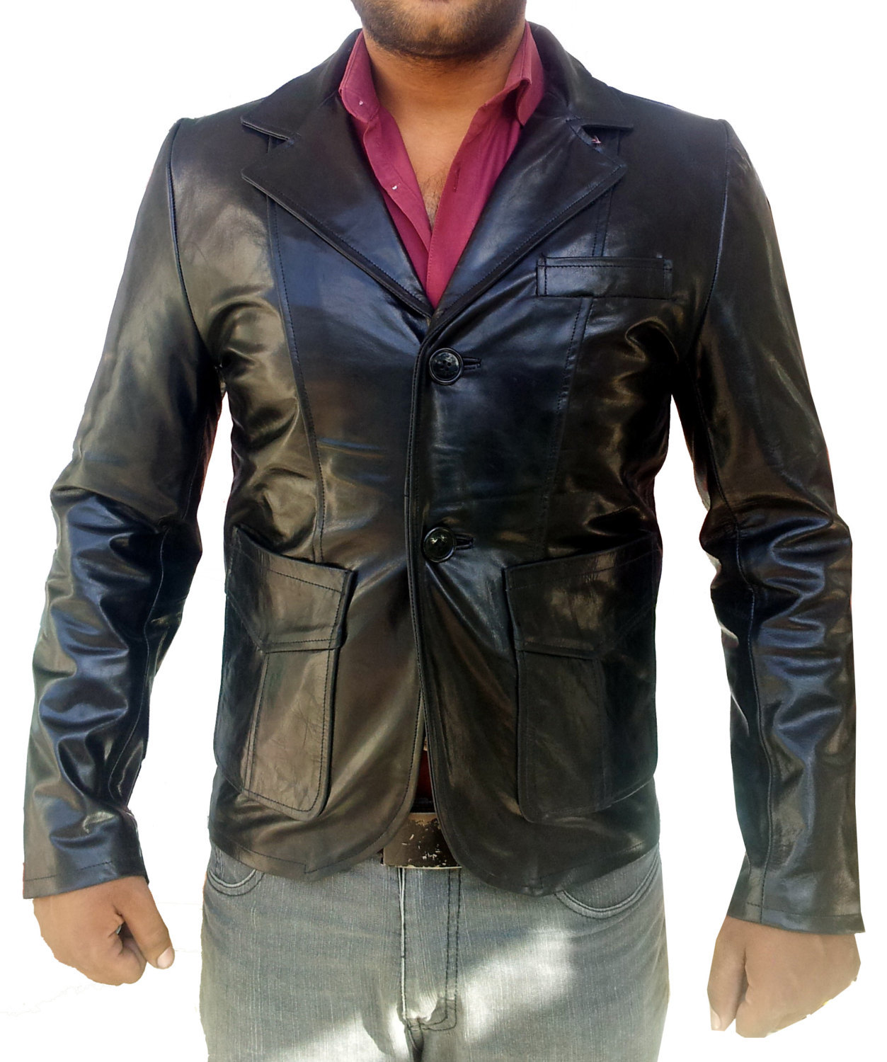 Handmade New Men Stylish Slim Fit Leather Blazer, Men leather jacket, Leather ja