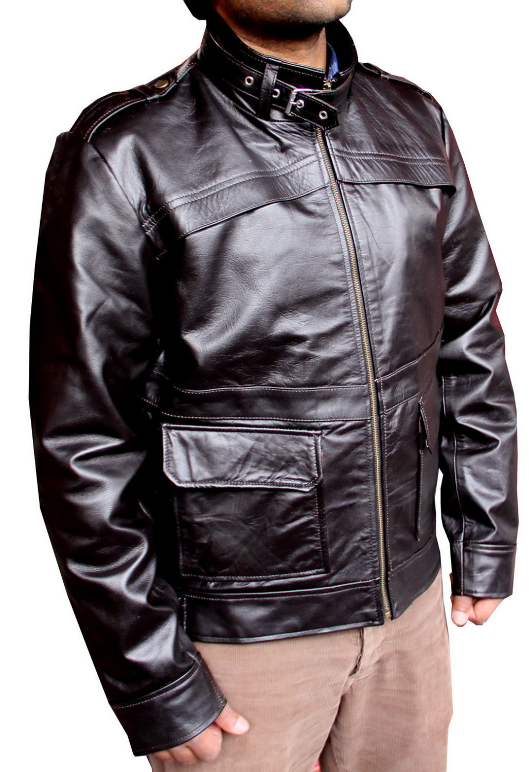 Handmade New Men Flap Front Panel Slim Fit Leather Jacket, Men leather jacket, L