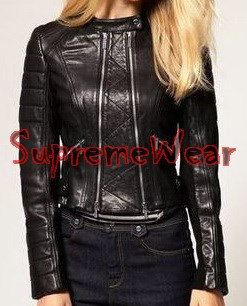 New Handmade Women Front Double Zip Panel Leather Jacket, Women leather jacket,