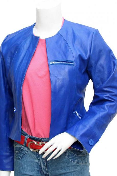 Collarless Women's Blue Leather Jacket