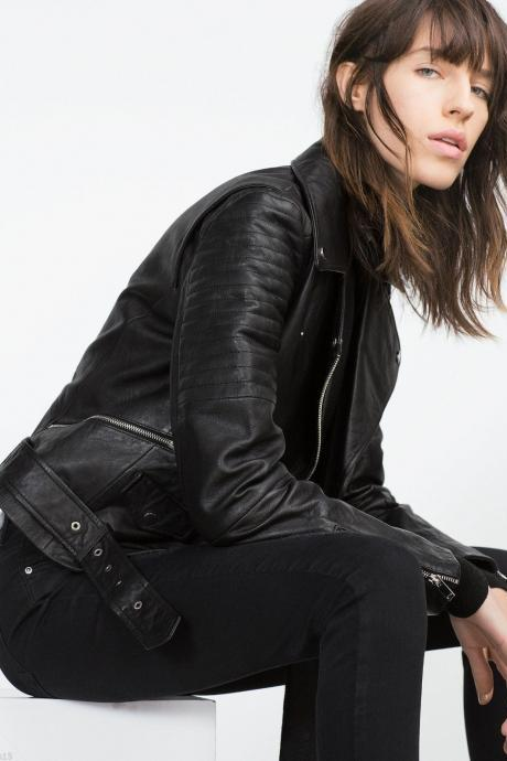 WOMEN JACKETS, BLACK COLOR GENUINE LEATHER JACKETS, WOMENS BIKER LEATHER JACKET