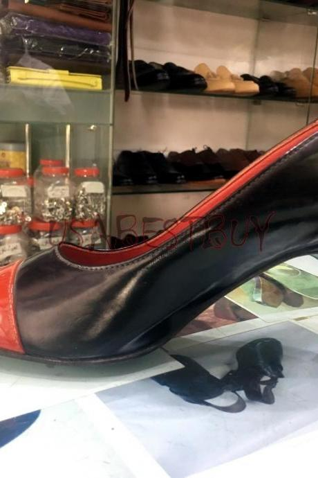 New Handmade Women Elegant Red and Black with Wooden Heel and Leather sole.