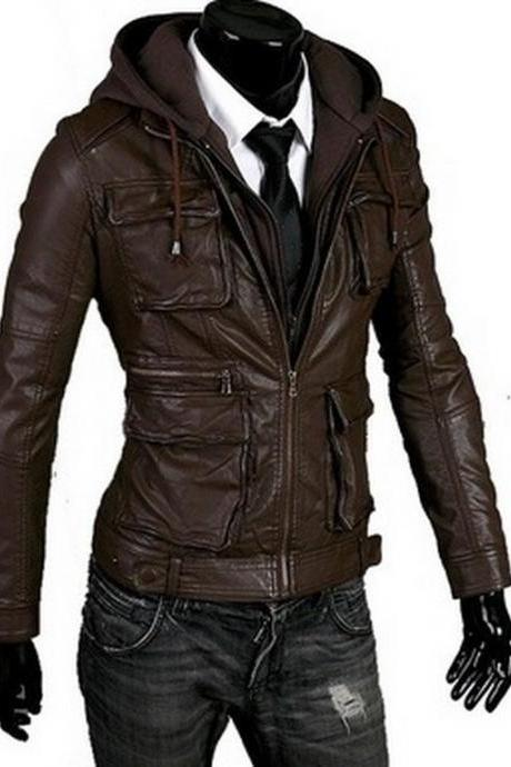 Handmade New Men Hooded Latest Winter Leather Jacket, Men Leather Jacket, leather jacket for men