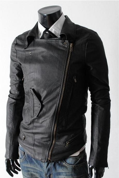 Handmade New Men Stylish Large Collar Black Leather Jacket, Men Leather jacket