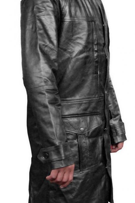Handmade New Men Stylish Front Multi Pockets Long Leather Coat