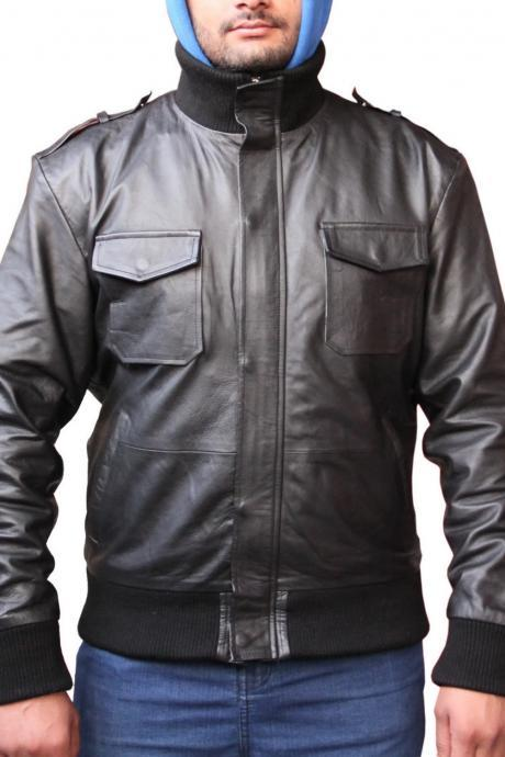 Men Black Rib Classic Leather Jacket