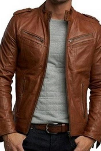 Handmade New Men Stylish Cool Design Brown Leather Jacket, Men Leather jacke