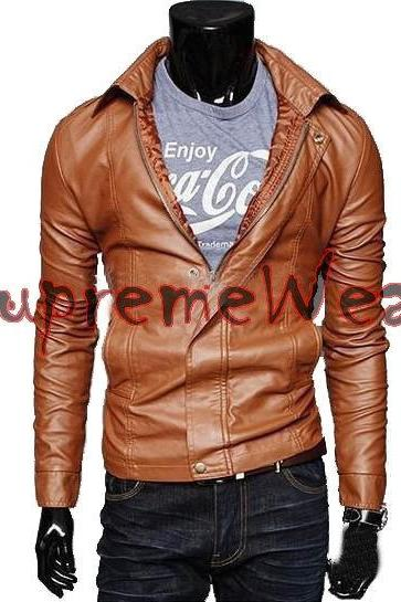 Handmade New Men Stylish Chic Bomber Leather Jacket, Men leather jacket, Leather