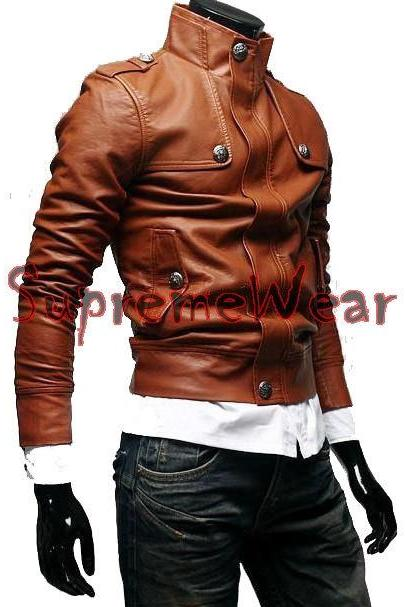 Handmade New Men Stylish Button Front Leather Jacket, Men leather jacket, Leatheer Jacket, Motorcycle Jacket