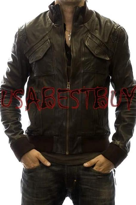 Handmade New Men Stylish Front Unique Pocket Style Bomber Leather Jacket