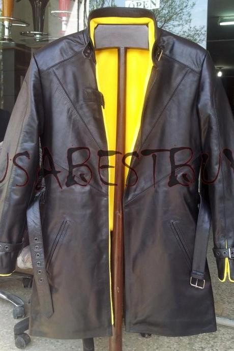Handmade New Men Watch Dog Costume Latest Black Leather Long Coat, Men Coat