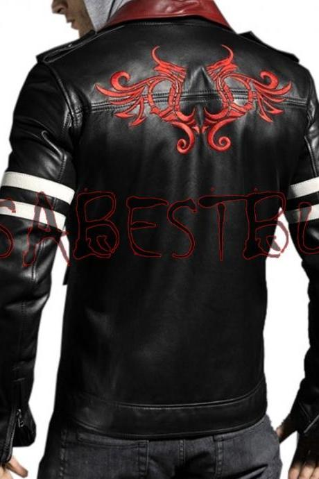 Handmade New Men Stylish Embroidery Back Leather Jacket, Men leather jacket
