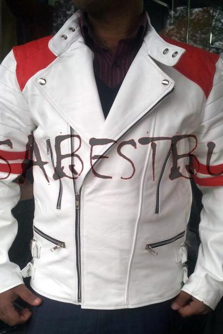 Handmade New Men Unique Classic Brando White Leather Jacket, Men Leather jacket