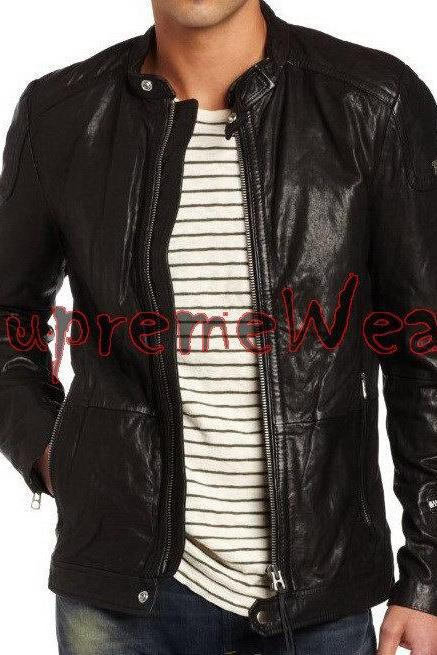 Handmade New Men Latest Stretching Panel Back Leather Jacket, Leather jacket for