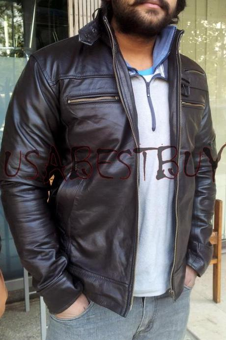 Handmade New Men Stylish Sleeve Pocket Leather Jacket, Men Leather jacket