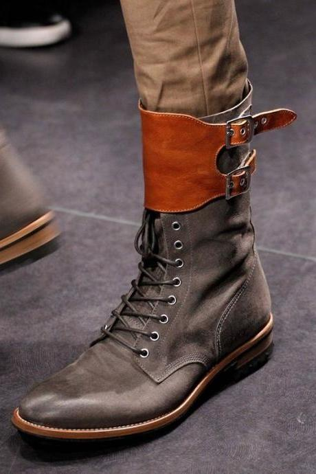 New Handmade Mens Military Style Superb Leather Boots, Long Men Boots