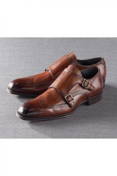 New Handmade Monk Double Strap Leather Shoes, Men Dress Shoes, Formal Shoes