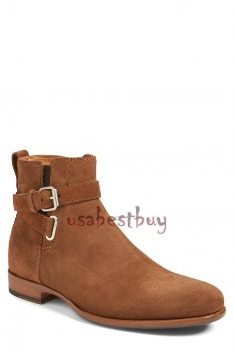 New Handmade Ankle Strap Real Suede Leather Boots, Men real leather boots