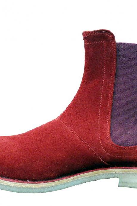 New Handmade Mens Red Chelsea Suede Leather Boots with Crepe Sole, Men Boots