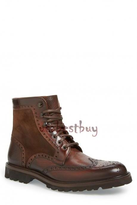 New Handmade Antique Brogue Style Real Leather Ankle Boots, Men leather boots