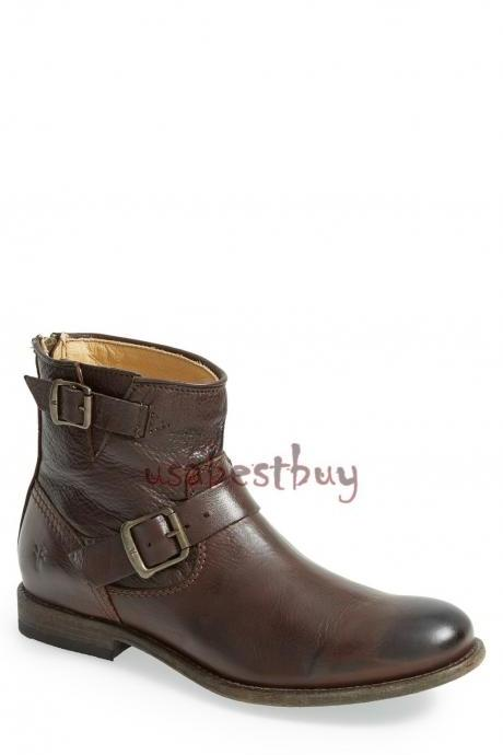 New Handmade Buckle Style Brown Leather Ankle Boots, Men Stylish leather boots