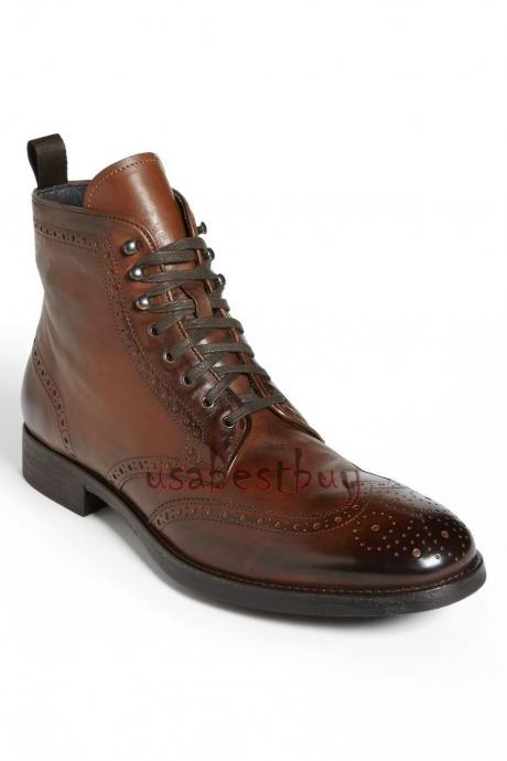 New Handmade Brogue Style Real Leather Ankle Boots, Men Latest leather boots