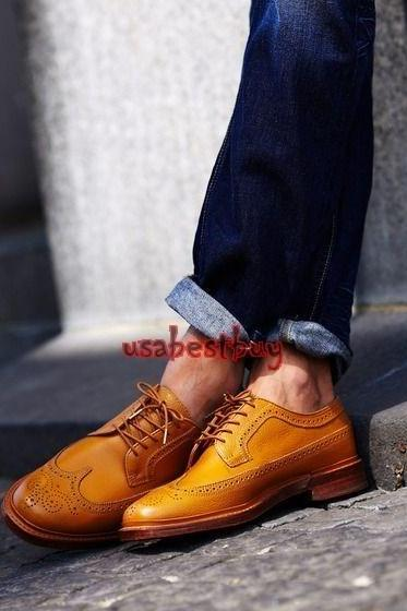 New Handmade Brogue Style Light Brown Genuine Leather Shoes , Men leather Shoes