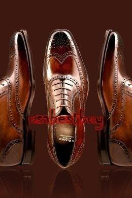 New Handmade Brogue Style Brown Genuine Leather Shoes , Men leather Shoes
