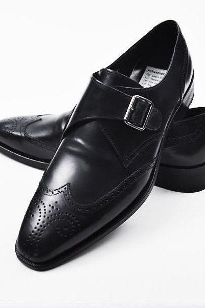 New Handmade Monk Style Black Genuine Leather Shoes , Men real leather Shoes