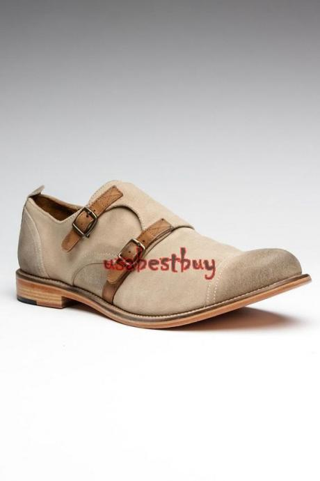 New Handmade Monk Style Light Grey Suede Leather Shoes , Men real leather Shoes