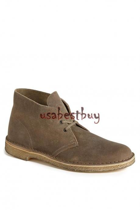 New Handmade Chukka Style Brown Suede Leather Boots with Crepe Sole, Suede Boots