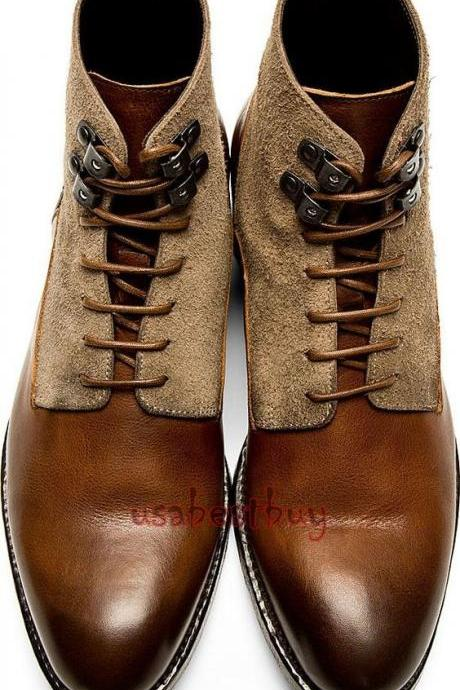 New Handmade Chukka Latest Style Suede and Calf Leather Boots, Men Brown boots