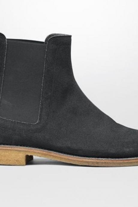 New Handmade Mens Black Chelsea Suede Leather Boots, Men boot with Crepe Sole
