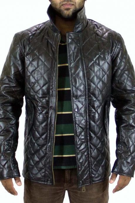 Men Black Quilted Leather Jacket