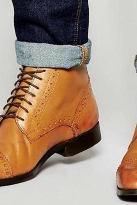 New Handmade Mens BROGUE TAN CASUAL ANKLE LEATHER BOOTS, Men boots, Leather Boot