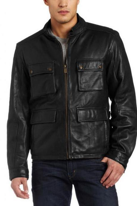 Handmade New Men Stylish Front Four Pockets Leather Jacket, Men Leather Jacket