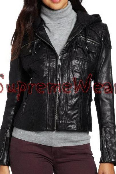 New Handmade Women Hooded Black Shouler Quilted Leather Jacket, Women leather ja