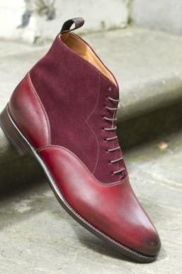 New Handmade Mens BURGUNDY GOODYEAR WELTED ANKLE DRESS BOOTS, Men Leather Boot