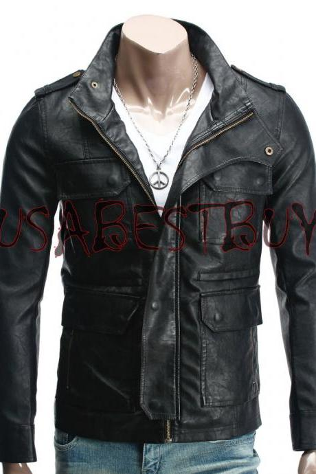 Handmade New Men Latest Style Pockets Bomber Leather Jacket, Men leather jacket